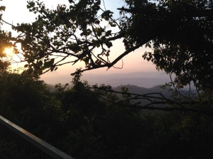 View of the sunset on the hike to Tibidabo amusement park