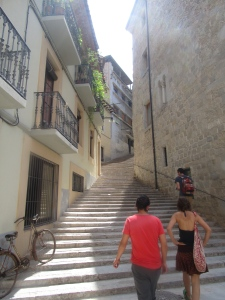 Stairs, stairs, and more stairs.  Andrés and Anna in picture