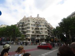 Casa Mila or La Pedrera from across the street.  It's a very easy landmark to find.