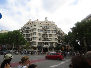 Casa Mila or La Pedrera from across the street.  It's a very easy landmark to find.