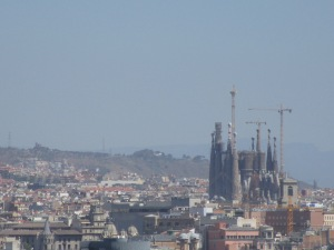 Looking at La Sagrada Familia from Montjuïc