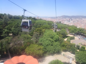 """View of """"teleferric"""" up the mountain"""
