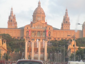 Plaça España castle in day time...well, early  evening