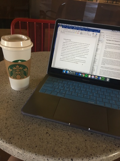 Studying today with well-deserved Starbucks