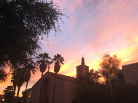Sunset over the church