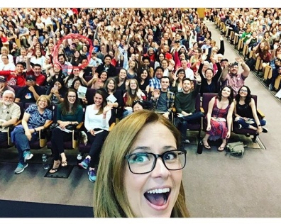 Attending Jenna Fischer's talk at the Book Festival (see red circle)
