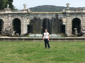 Waterfall and statuary