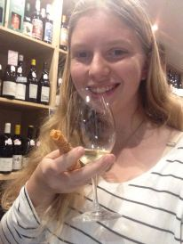 Sipping some white wine