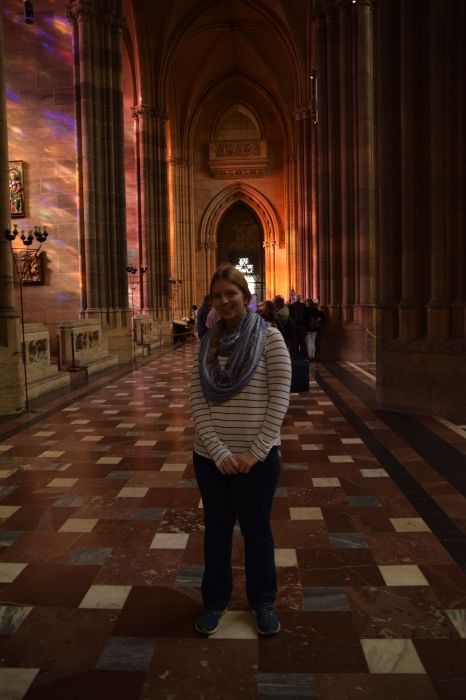 Posing in the cathedral