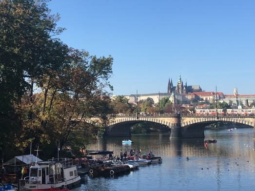 Looking up to Prague Castle