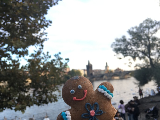 Gingerbread man enjoying his final moments