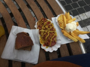 Currywurst, fries, and bread