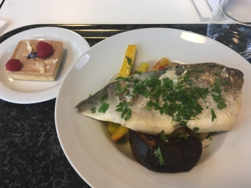 Fish and veggies (and a raspberry tart)
