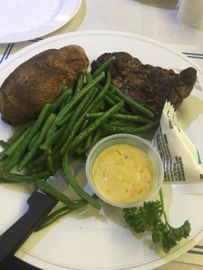 Steak, potatoes, and green beans