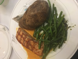 Fish and more potatoes and green beans